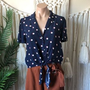 Bare Moon Front Tie Polka Dot Blouse
